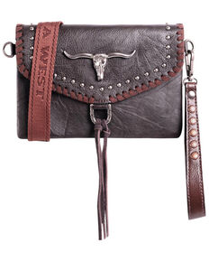 Montana West Women's Longhorn Crossbody Handbag, Brown, hi-res