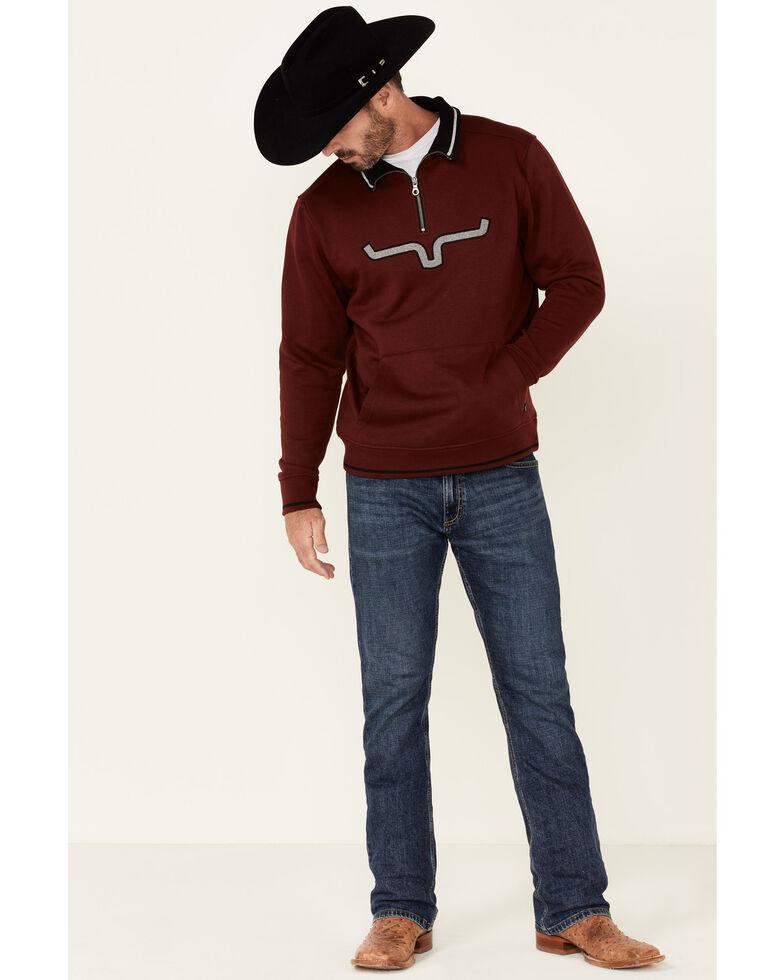 Kimes Ranch Men's Burgundy Filmore Logo 1/4 Zip Pullover , Burgundy, hi-res