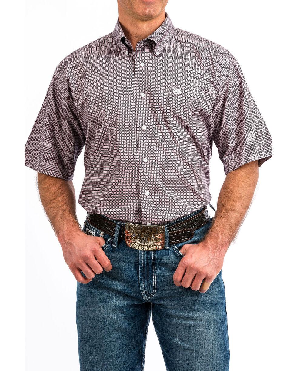 Cinch Men's Purple Geo Print Button Short Sleeve Western Shirt , Light Purple, hi-res