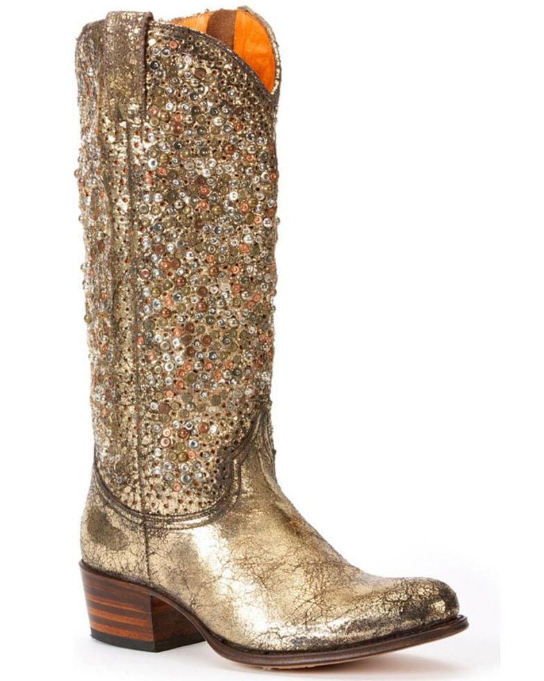 Frye Women's Deborah Studded Tall Boots - Round Toe, Gold, hi-res