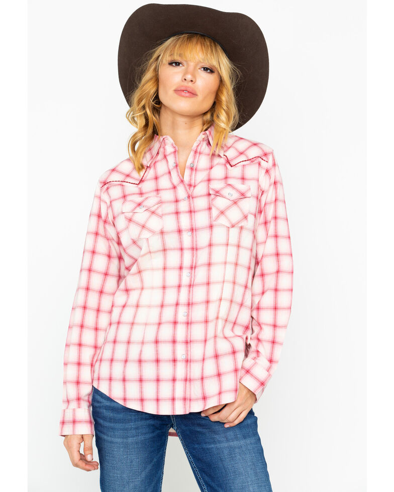 Wrangler Women's Rose Ombre Long Sleeve Western Shirt, Red, hi-res