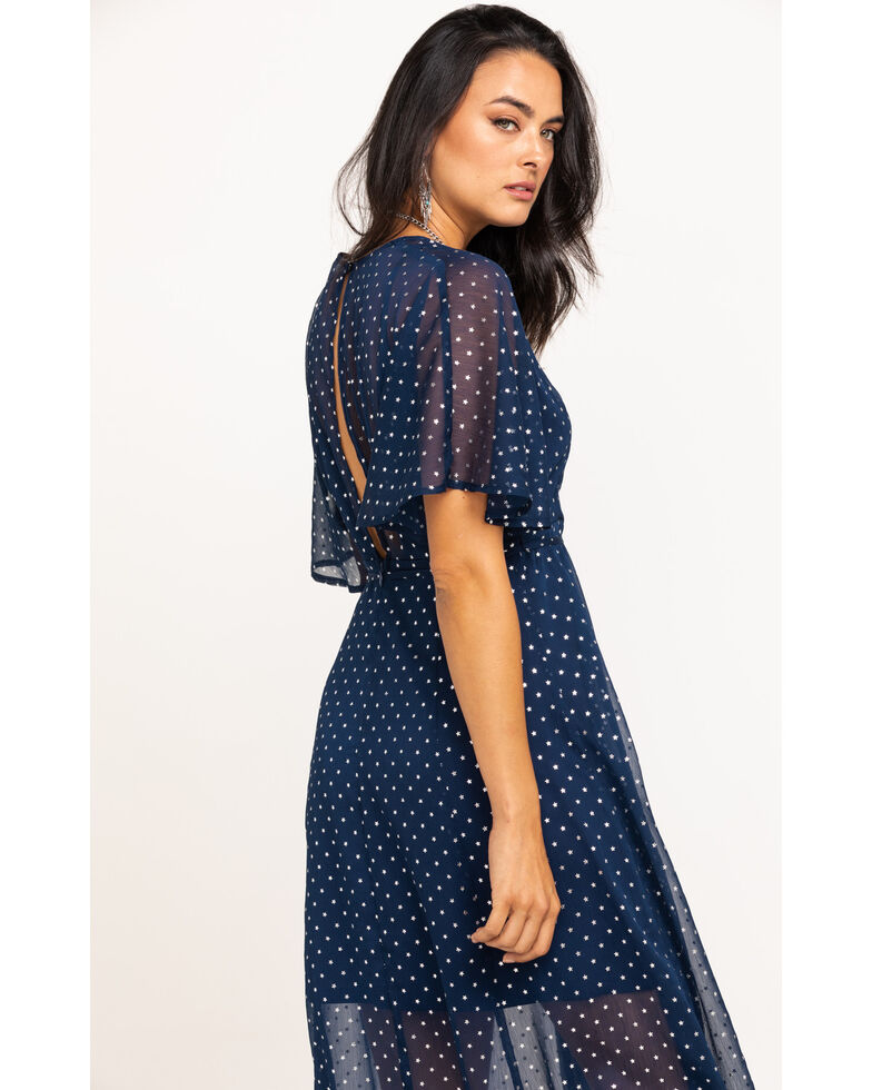 En Creme Women's Navy Foil Star Print Wrap Dress, Navy, hi-res