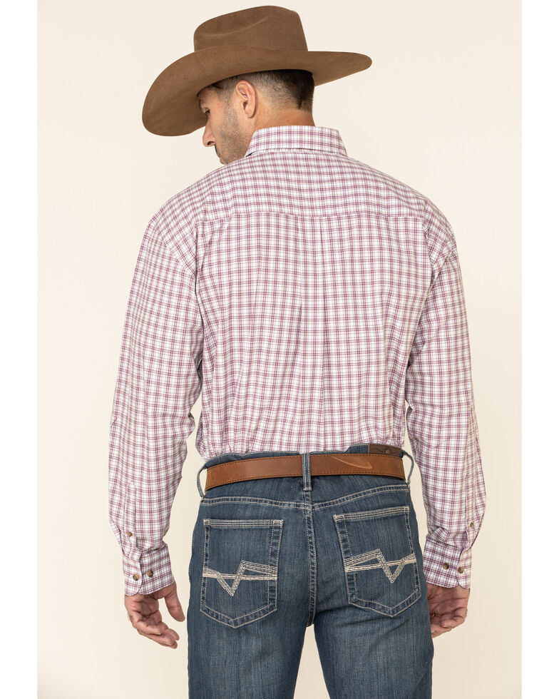 George Strait By Wrangler Plum Small Plaid Long Sleeve Western Shirt , White, hi-res
