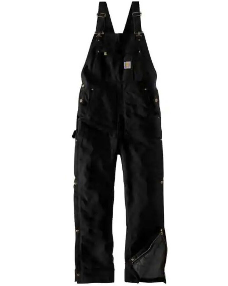 Carhartt Men's Black Firm Duck Insulated Bib Work Overalls - Short, , hi-res