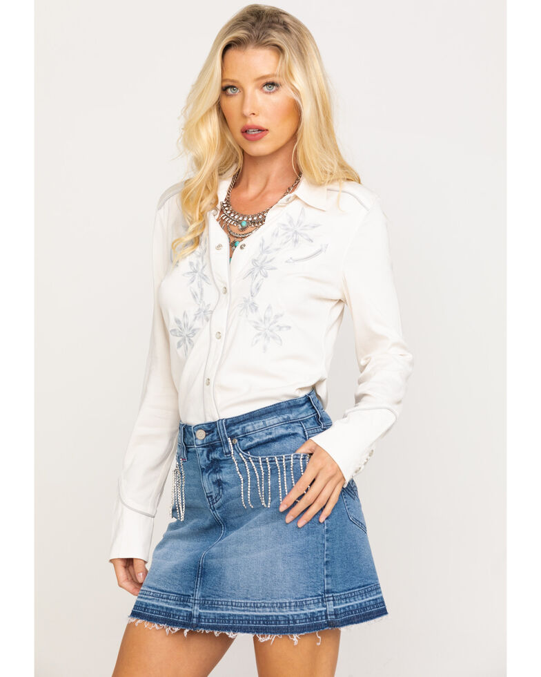 Idyllwind Women's Western Nights Snap Front Top, Ivory, hi-res
