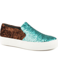 Roper Women's Darcy Turquoise & Silver Reversible Sequin Slip On Shoes - Round Toe, Blue, hi-res