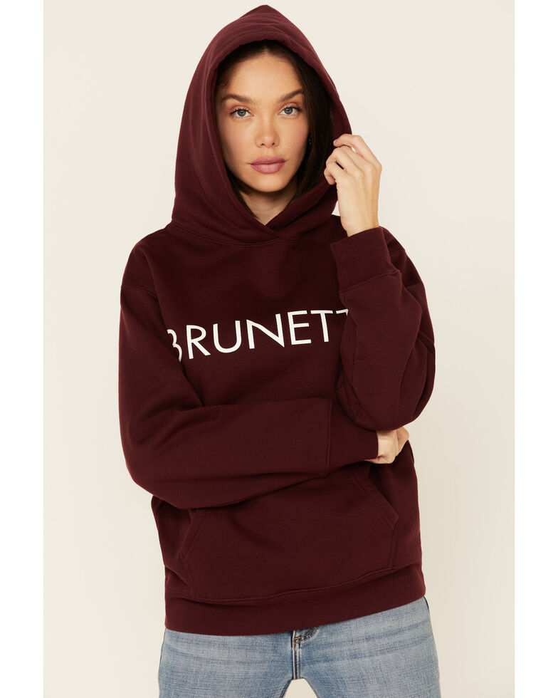 Brunette The Label Women's Redhead Logo Graphic Hooded Sweatshirt , Burgundy, hi-res