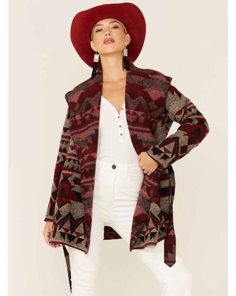 Cripple Creek Women's Wine Navajo Tie-Front Blanket Hooded Wrap Jacket , Wine, hi-res