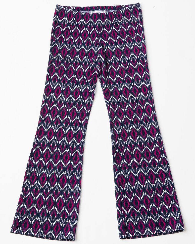 Shyanne Girls' Ruffled Cold Shoulder Knit Pant Set, , hi-res