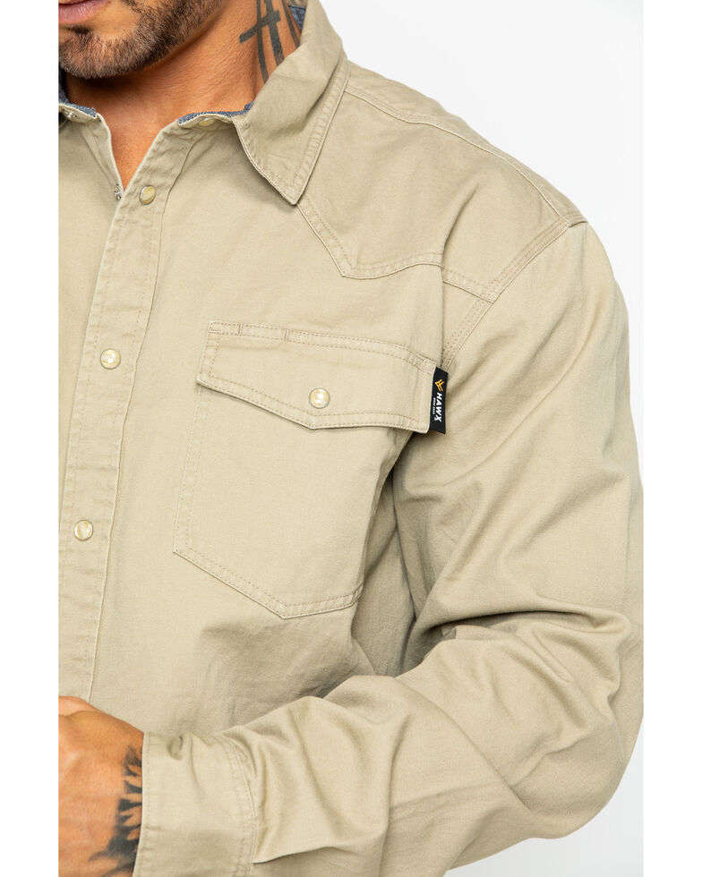 Hawx Men's Solid Twill Snap Long Sleeve Work Shirt , Beige/khaki, hi-res