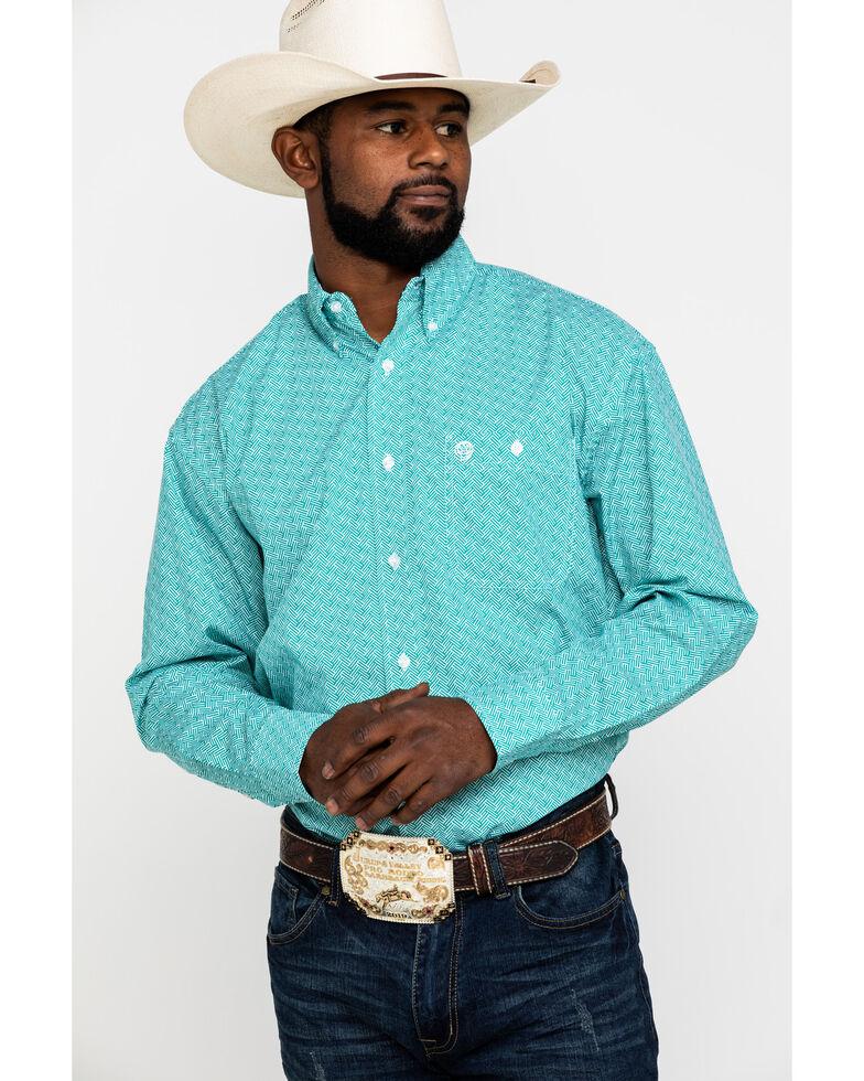 George Strait by Wrangler Men's Emerald Geo Print Short Sleeve Western Shirt , Green, hi-res