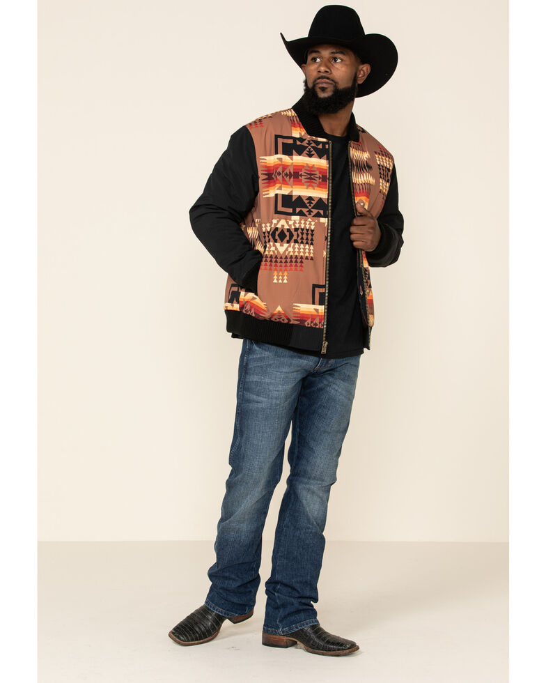 Pendleton Men's Cody Desert Sunset Print Bomber Jacket , Tan, hi-res
