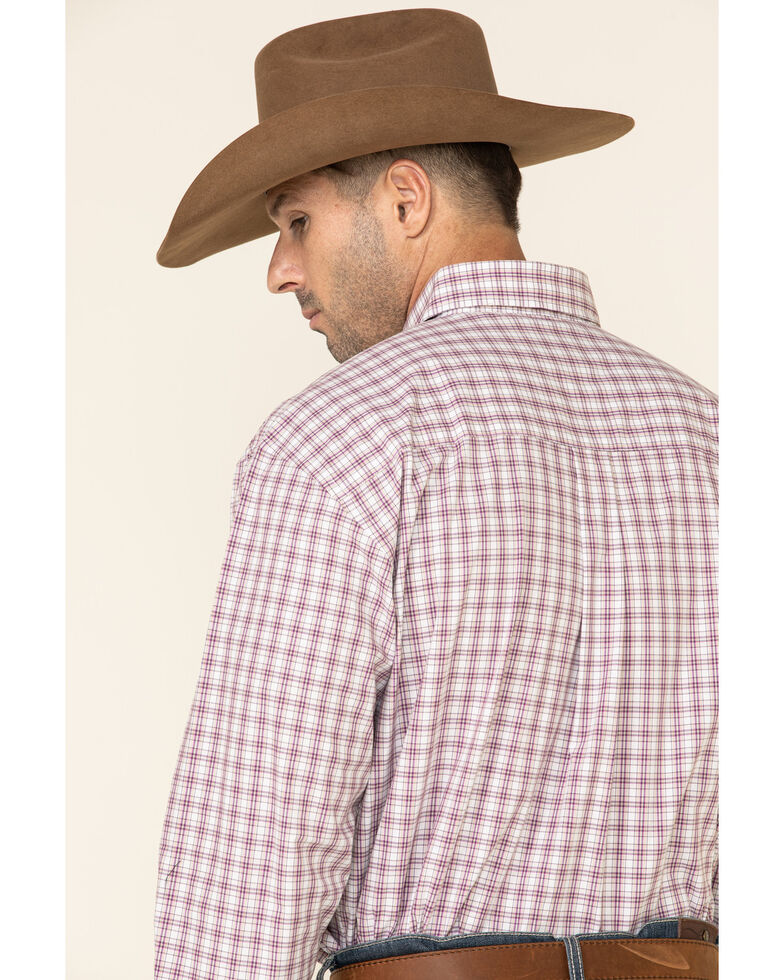 George Strait By Wrangler Plum Small Plaid Long Sleeve Western Shirt - Tall, White, hi-res