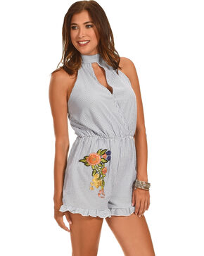 Ces Femme Women's Striped Romper with Floral Patch, Blue, hi-res