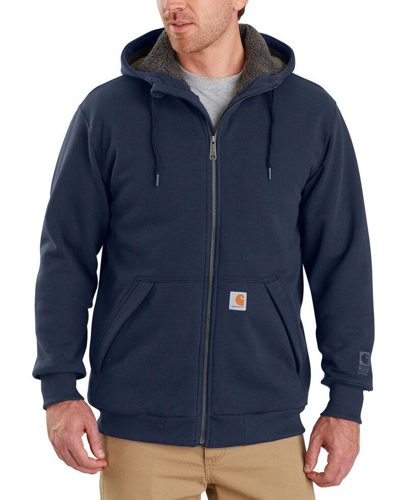 Carhartt Men's Rain Defender Rockland Sherpa-Lined Full-Zip Hoodie - Big & Tall, Navy, hi-res