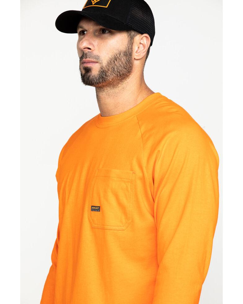 Ariat Men's Orange Rebar Cotton Strong Long Sleeve Work Shirt - Big & Tall , Orange, hi-res