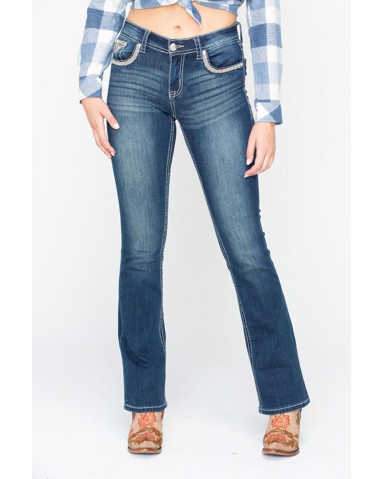 Grace In LA Women's Aztec Boot Cut Jeans, Blue, hi-res
