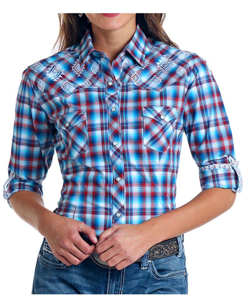 Rough Stock by Panhandle Women's Embroidered Plaid Long Sleeve Shirt - Plus , Multi, hi-res
