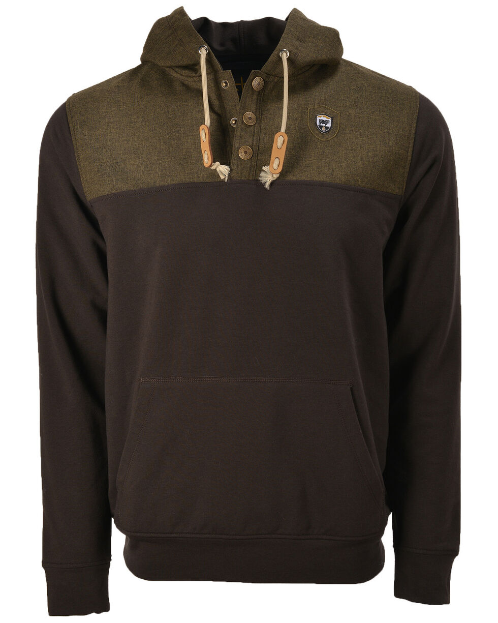 STS Ranchwear Men's Ryland Hooded Quarter Zip Snap Pullover , Brown, hi-res