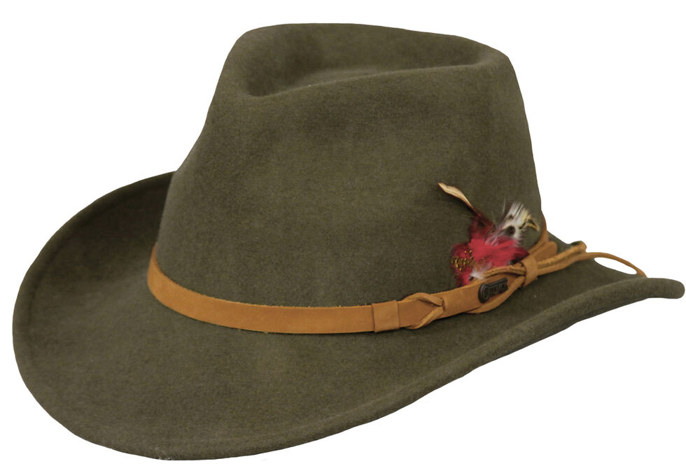 Outback Trading Co. Randwick UPF50 Sun Protection Crushable Wool Hat, Moss, hi-res
