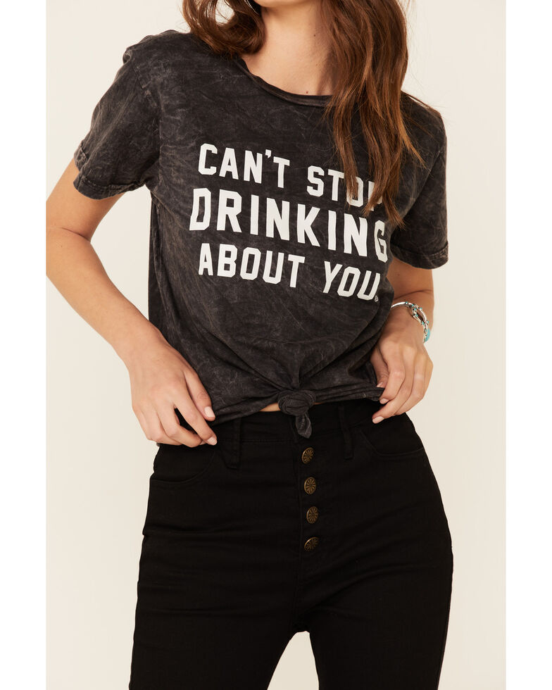 Goodie Two Sleeves Women's Can't Stop Drinking About You Graphic Short Sleeve Tee , Charcoal, hi-res
