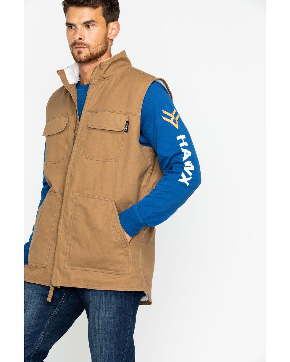 Hawx® Men's Canvas Work Vest - Big & Tall , Brown, hi-res