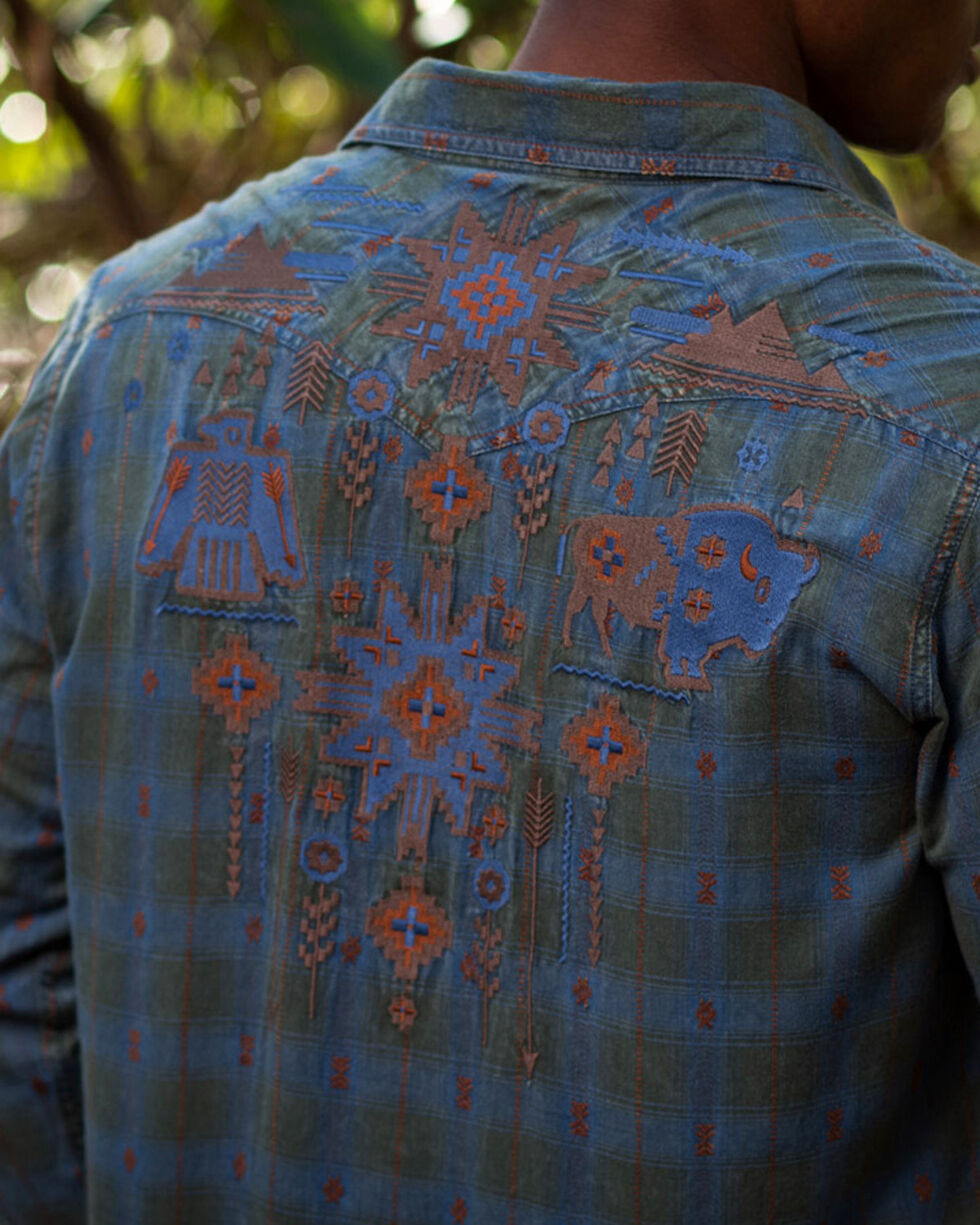 Ryan Michael Men's Sage Embroidered Dobby Plaid Shirt , Sage, hi-res