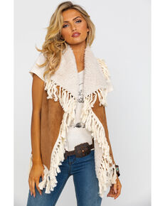 Honey Creek by Scully Women's Faux Fur Embellished Fringe Vest , Tan, hi-res