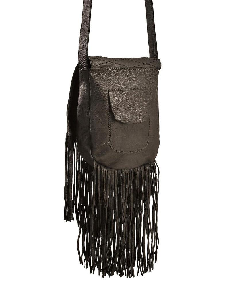 Beaded Kobler Leather Black Shoulder Bag, , hi-res