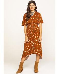 Wrangler Women's Burgundy Floral Button Down Duster Dress, Burgundy, hi-res