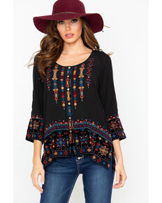 6a3b024329710 Johnny Was Women s Vika Velvet Embroidered Mix Blouse