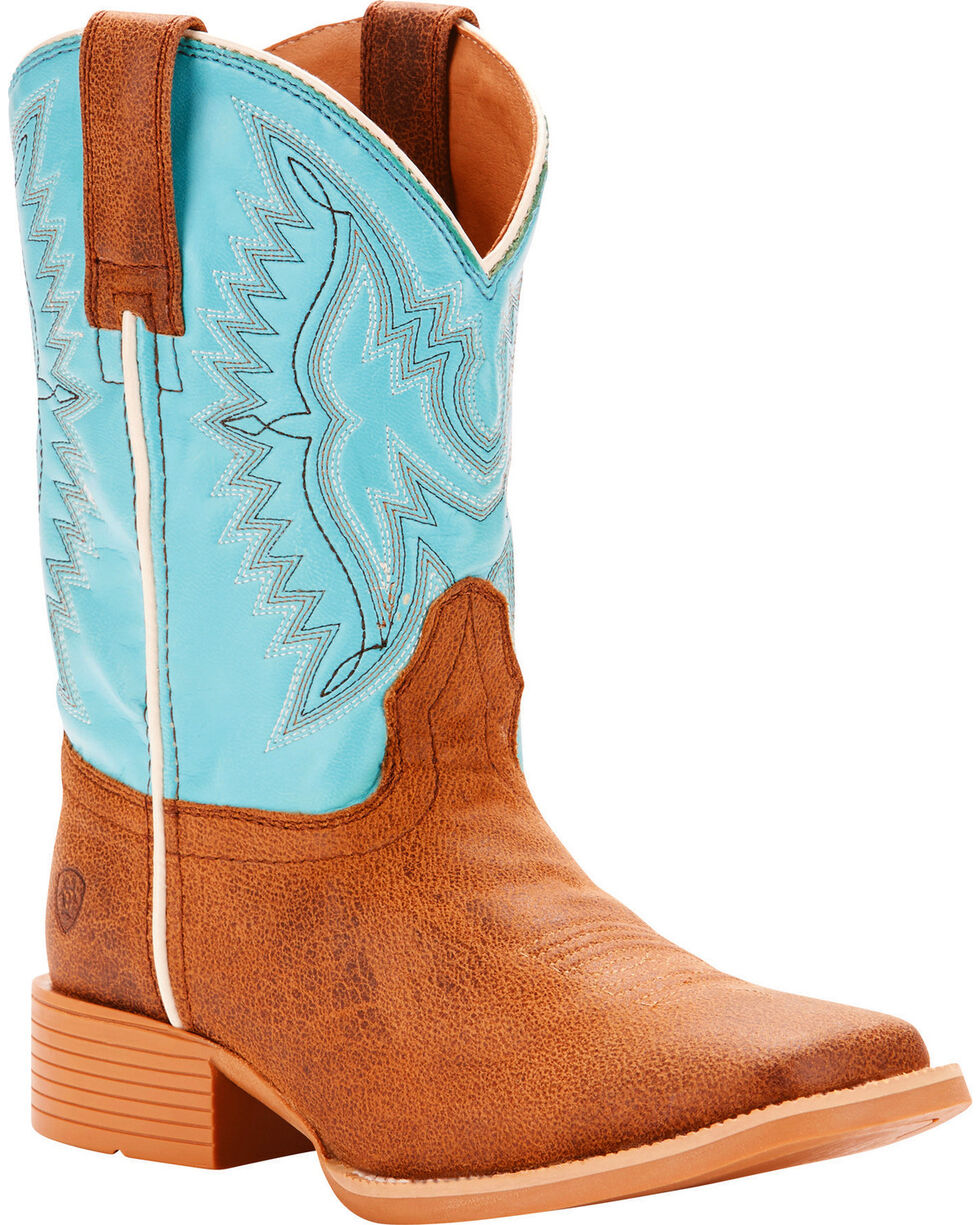 Ariat Boys' Bristo Tan Tilt Bustin Blue Cowboy Boots - Square Toe, Tan, hi-res