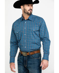 Wrangler Men's Wrinkle Plaid Small Multi Plaid Long Sleeve Western Shirt - Big & Tall , Blue, hi-res