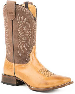 Roper Men's Sidewinder Sam Western Boots - Square Toe, Tan, hi-res