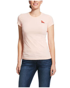 Ariat Women's Sugar Peach Embroidered Fox Short Sleeve Tee, Peach, hi-res