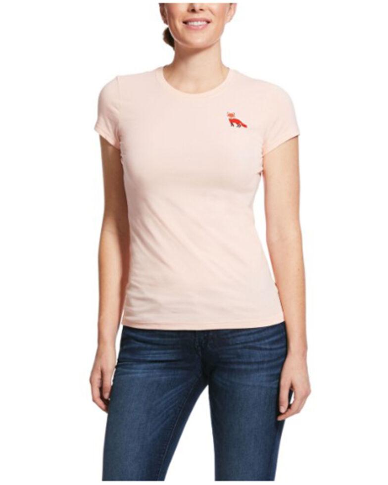 Ariat Women's Sugar Peach Embroidered Fox Short Sleeve Tee, Peach, hi-res