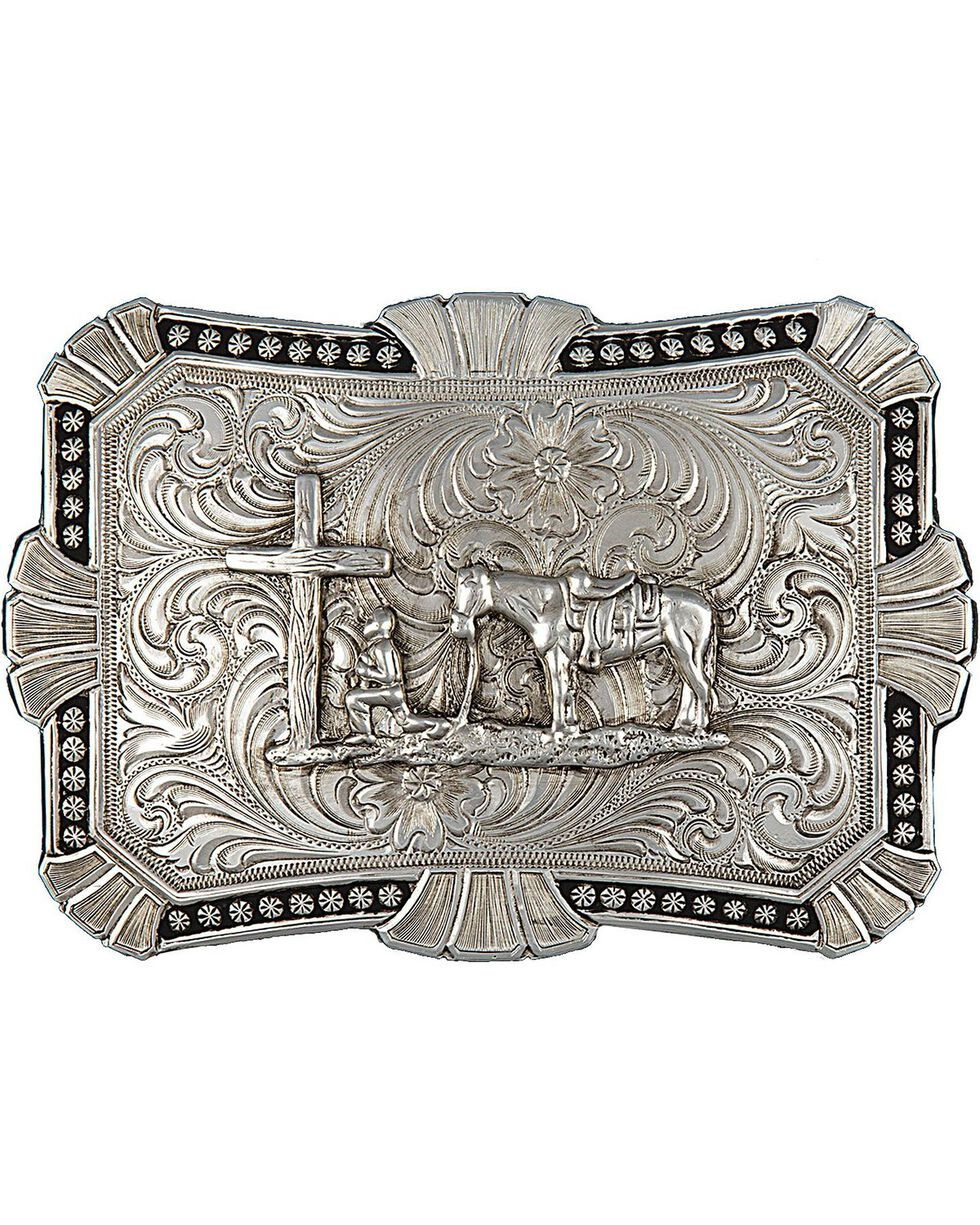Montana Silversmiths Engraved Cowboy Prayer Buckle, Silver, hi-res