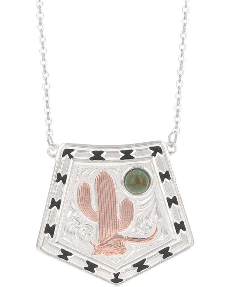 Montana Silversmiths Women's Stay Cactus Strong Turquoise Moon Necklace, Silver, hi-res