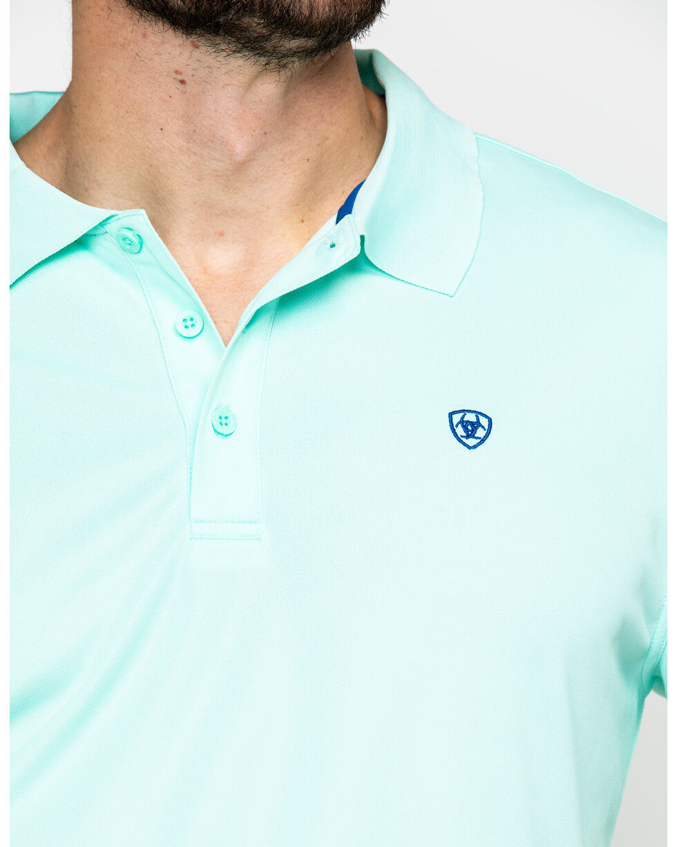 Ariat Men's TEK Aquis Short Sleeve Polo Shirt , Blue, hi-res