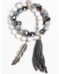 Idyllwind Women's Fringe and Feather White Turquoise 3 Bracelet Stack, Silver, hi-res