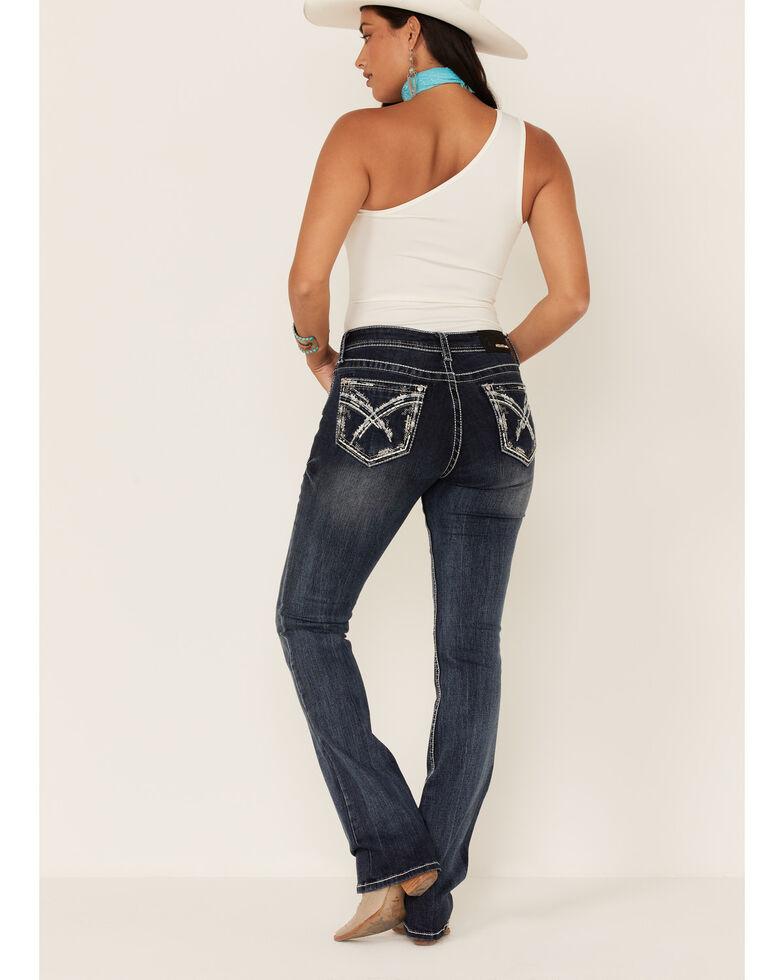 Grace in LA Women's Dark Wash Crossing Lines Bootcut Jeans, Blue, hi-res