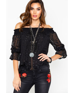 Miss Me Women's Metallic Jacquard Off The Shoulder Trumpet Long Sleeve Top , Black, hi-res