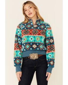 Rock & Roll Denim Women's Teal Aztec Print Sherpa 1/4 Zip Crop Pullover , Teal, hi-res