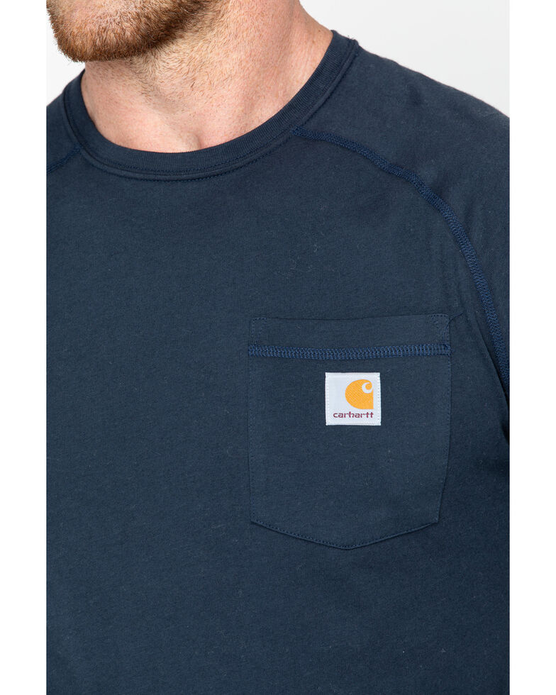 Carhartt Men's Solid Force Long Sleeve Work Shirt, Navy, hi-res