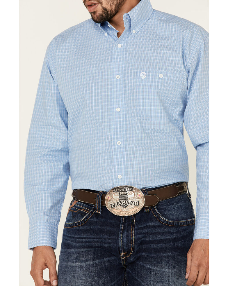 George Strait By Wrangler Men's Blue Small Plaid Long Sleeve Button-Down Western Shirt - Big, Blue, hi-res