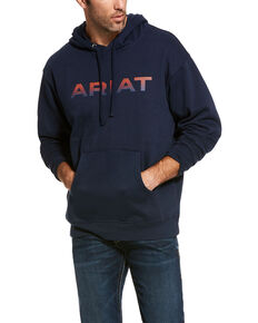 Ariat Men's Navy Logo Pullover Hoodie , Navy, hi-res