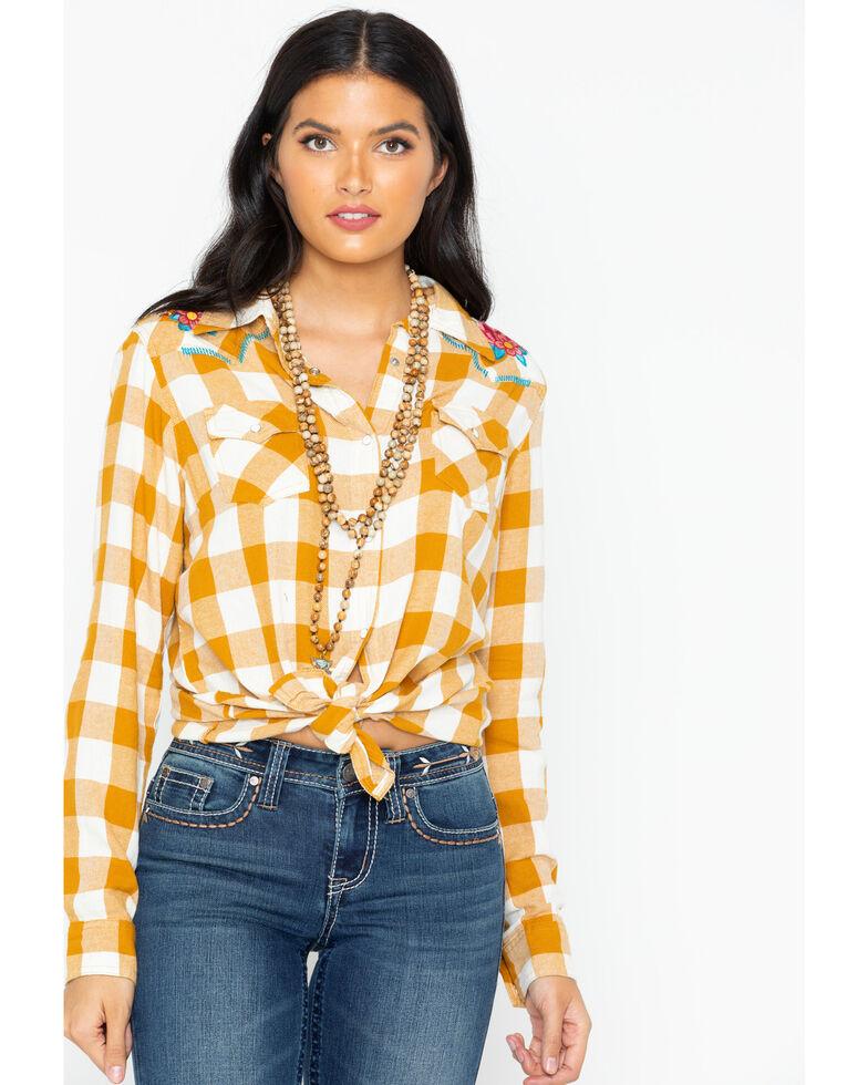 bbda304ed7 Wrangler Women s Retro Plaid Embroidered Long Sleeve Western Shirt ...