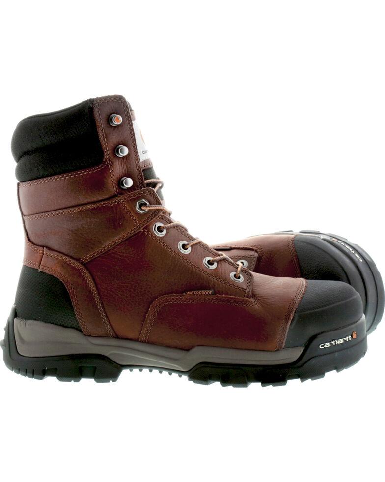 """Carhartt Men's 8"""" Ground Force Waterproof Work Boots - Composite Toe, Brown, hi-res"""