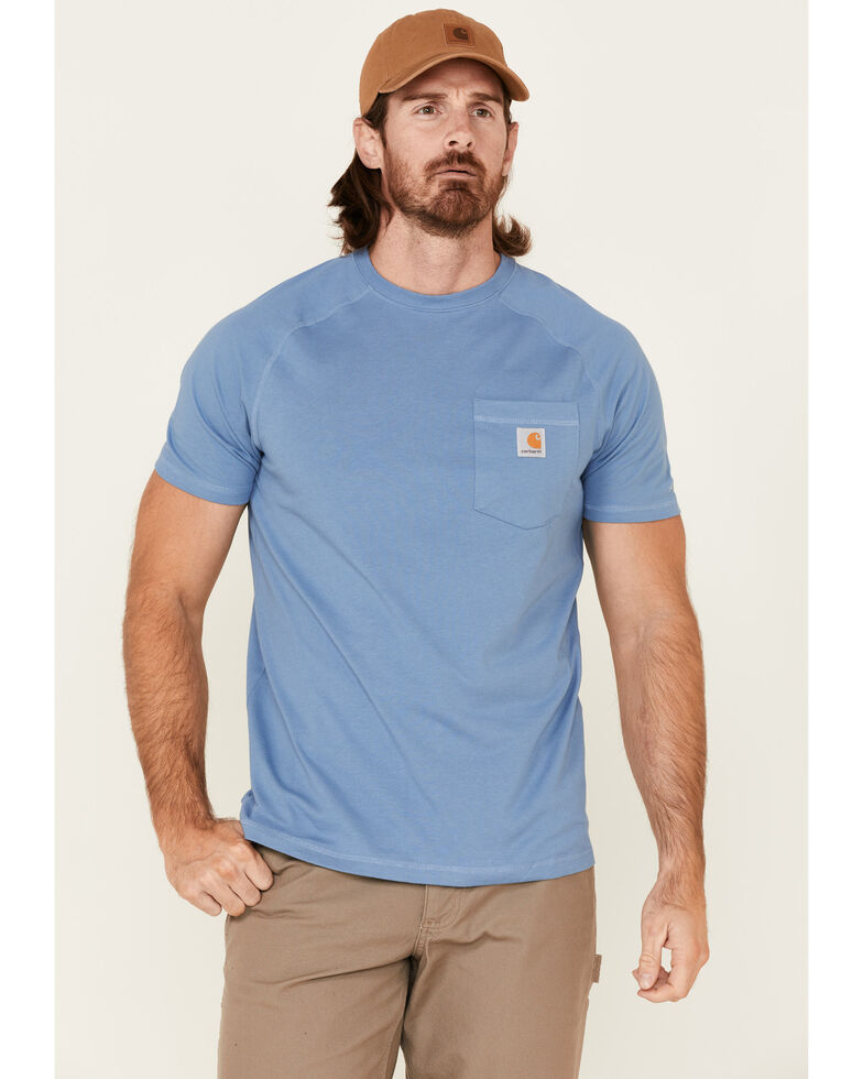 Carhartt Men's Blue Force Cotton Delmont Short Sleeve Work T-Shirt , Blue, hi-res