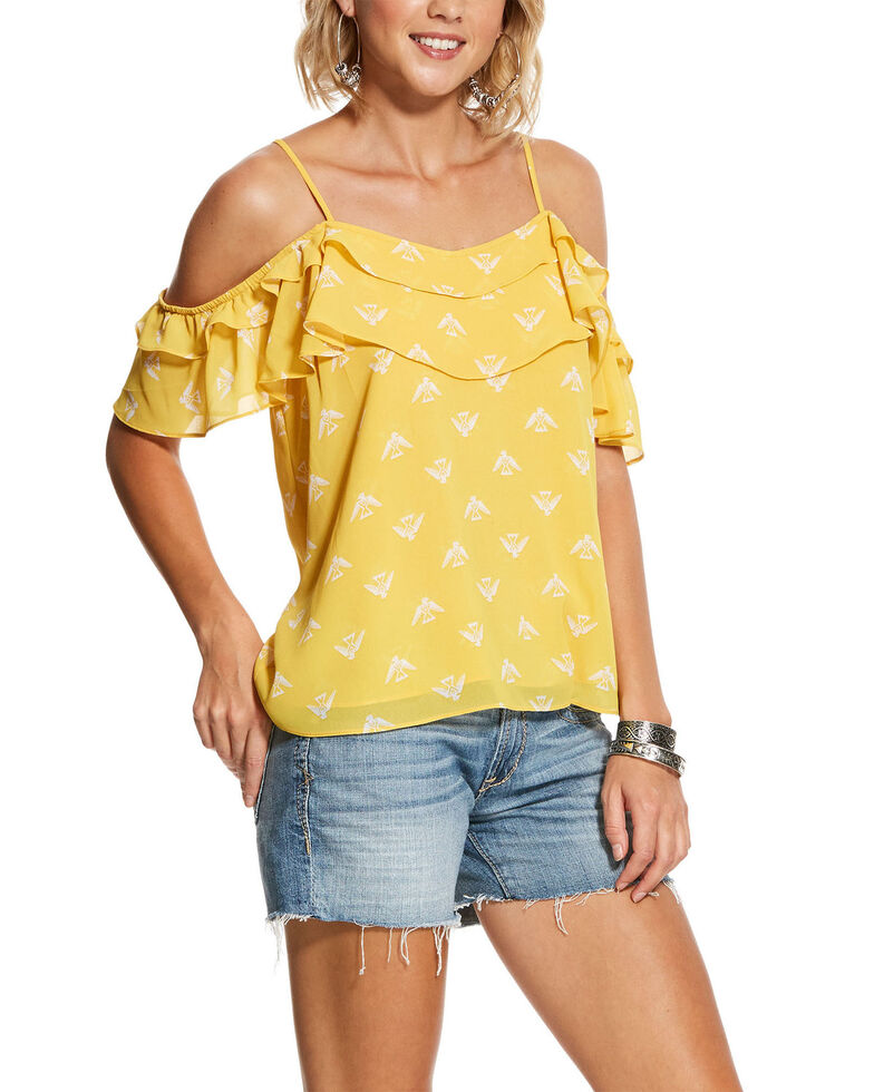 Ariat Women's Yellow Aztec Eagle Print Ruffle Cold Shoulder Top , Yellow, hi-res